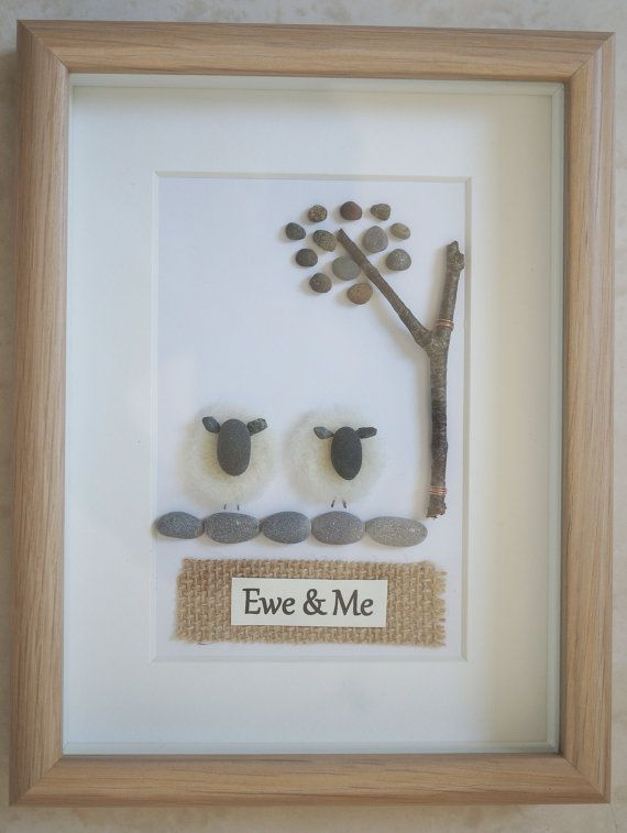Pebble Art framed Picture Ewe & Me by Jewlls4u on Etsy