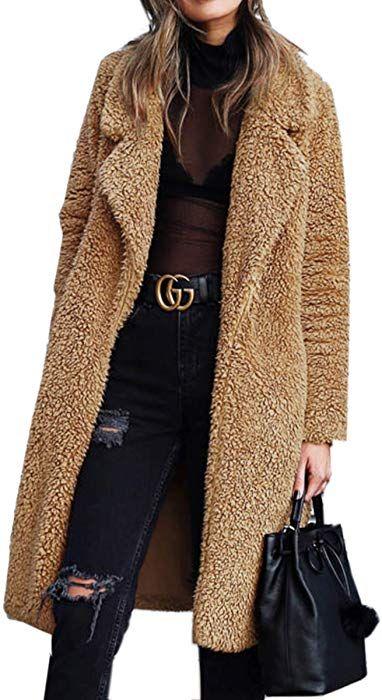 Angashion Women s Fuzzy Fleece Lapel Open Front Long Cardigan Coat Faux Fur  Warm Winter Outwear Jackets with Pockets Dark Camel S at Amazon Women s  Coats ... fe891339a