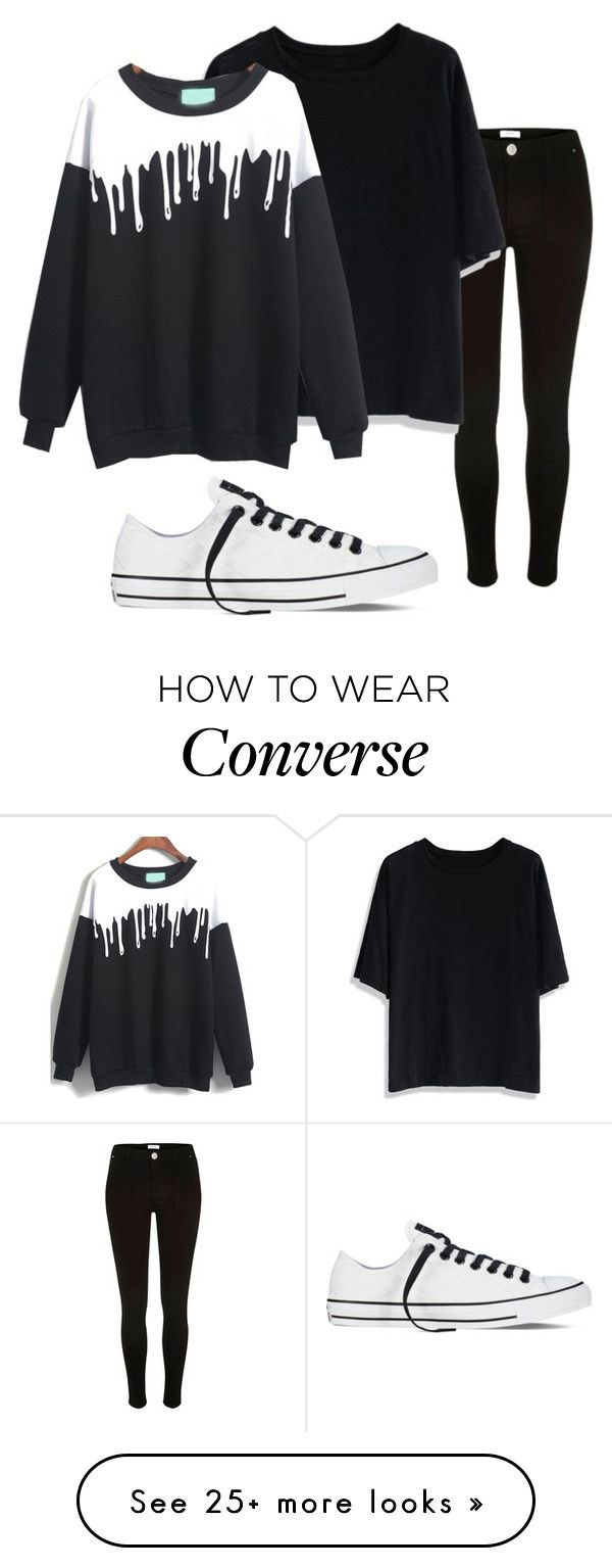 """""""Monochrome-2"""" by madmaddy33 on Polyvore featuring River Island, Chicwish and Converse"""