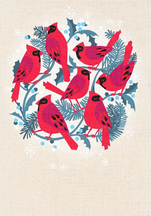 red cardinals christmas greetings card, by marco marella https://www.behance.net/marcomarella