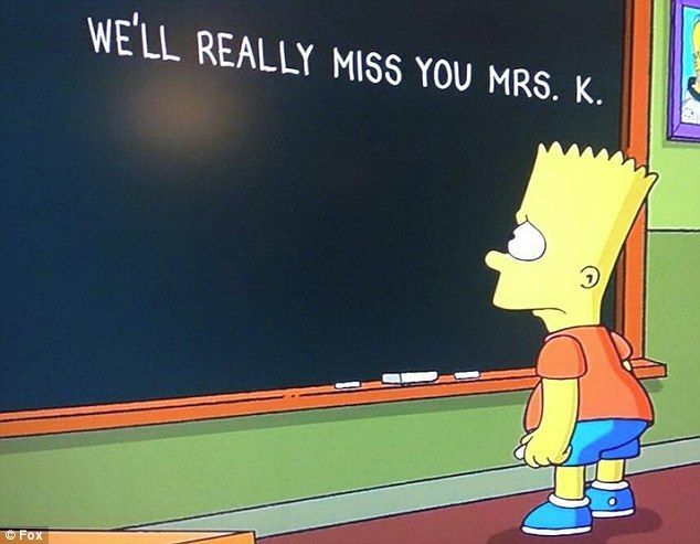 Sad: Bart Simpson wrote a tribute to Edna Krabappel's voice actress Marcia Wallace on Sunday night's edition of The Simpsons