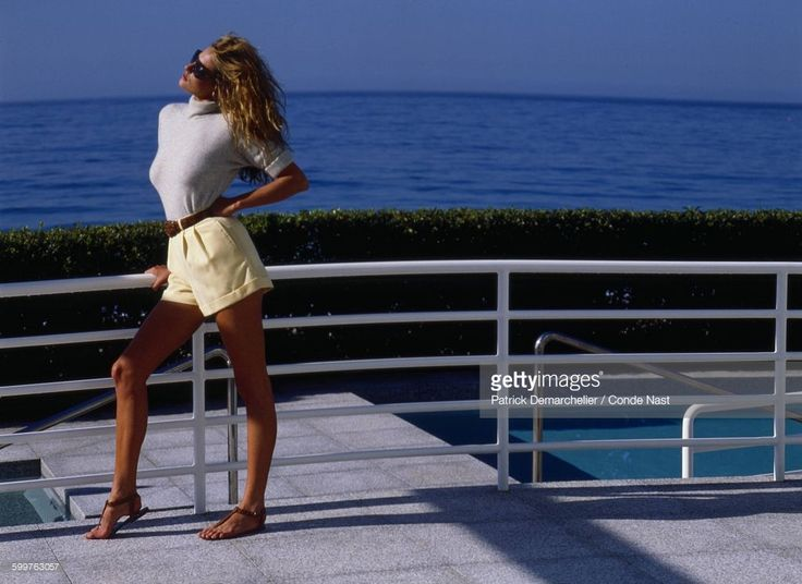 News Photo : Model Tatjana Patitz in grey cashmere turtleneck...