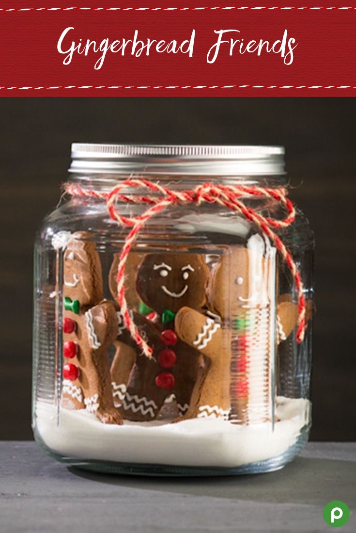 Gift a jar of Gingerbread Friends to your friends this Christmas. This yummy treat will be sure to put a smile on your loved ones' faces. Head to your Publix for all the ingredients: gingerbread cookies, vanilla frosting, candy decorations, pretzel sticks, and sugar.