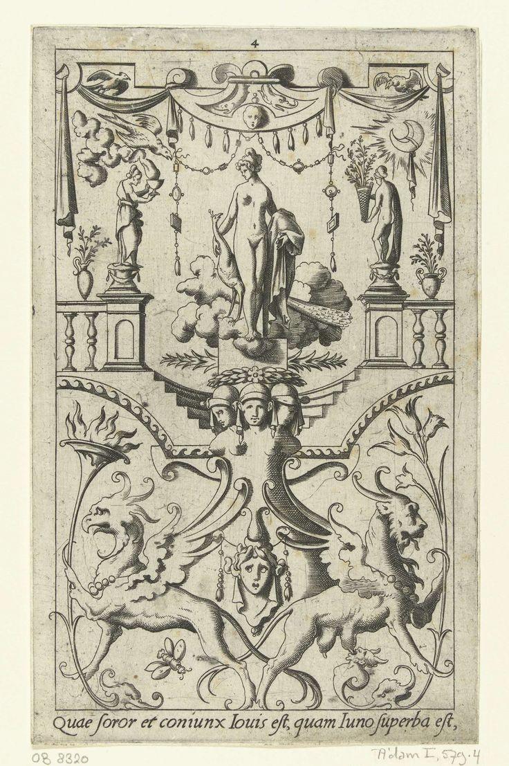 Juno met pauw, staand onder een baldakijn, Leonard Thiry, 1551 - 1580
