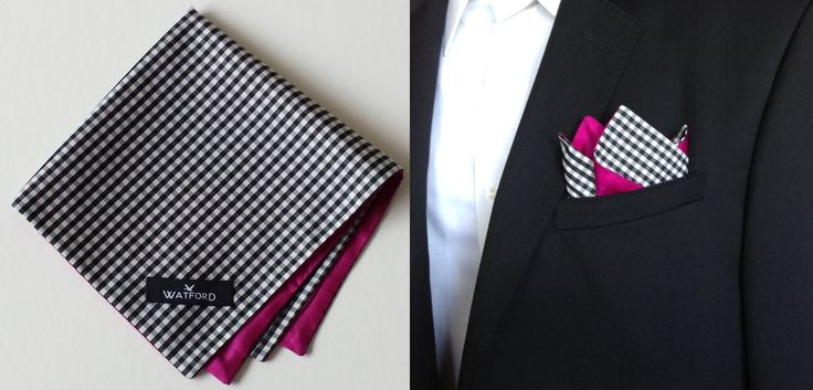 Polyester Black & White Gingham with fuchsia lining - Pocket Square (Double-sided)