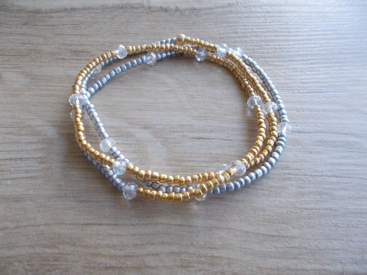 Gold Silver Long Seed Bead Stretch 3 Wrap Bracelet with Sparkling Transparent Crystals by BluePinkJewelry on Etsy
