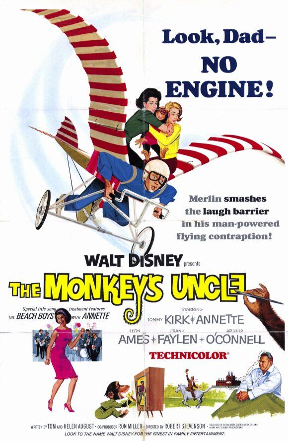 """""""The Monkey's Uncle"""" (1965) Disney's follow-up to the previous year's """"Misadventures of Merlin Jones"""" has Merlin (Tommy Kirk) recruited by the Mu Mu fraternity in order to help Midvale College's star football players pass their exams. Stars: Tommy Kirk, Annette Funicello, Leon Ames, Arthur O'Connell, Frank Faylen, Norman Grabowski"""
