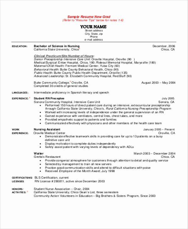 nursing student resume example best of sample student