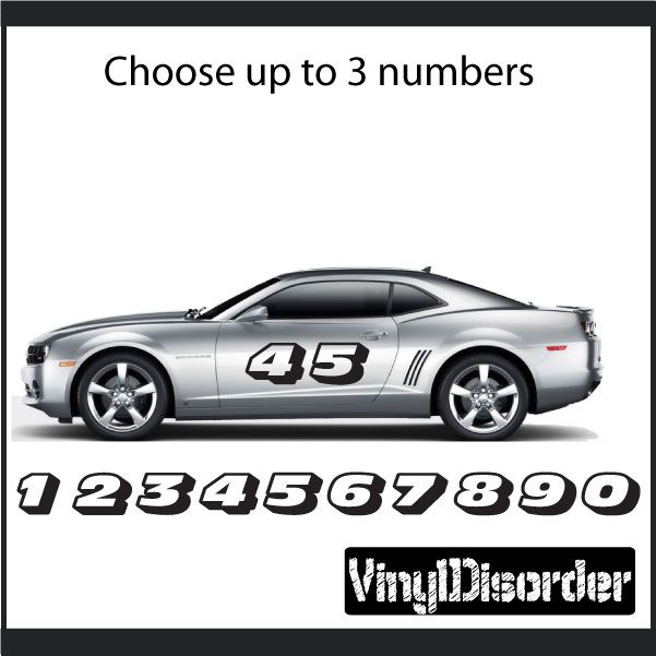 Race Numbers Vinyl Decal Car Decal CF Car Decal And Cars - Lightning mcqueen custom vinyl decals for carlightning mcqueen camaro car decals unique items racing