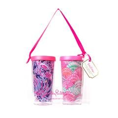 Lilly Pulitzer Insulated Tumbler with Lid Set, Shrimply Chic / Oh Shello