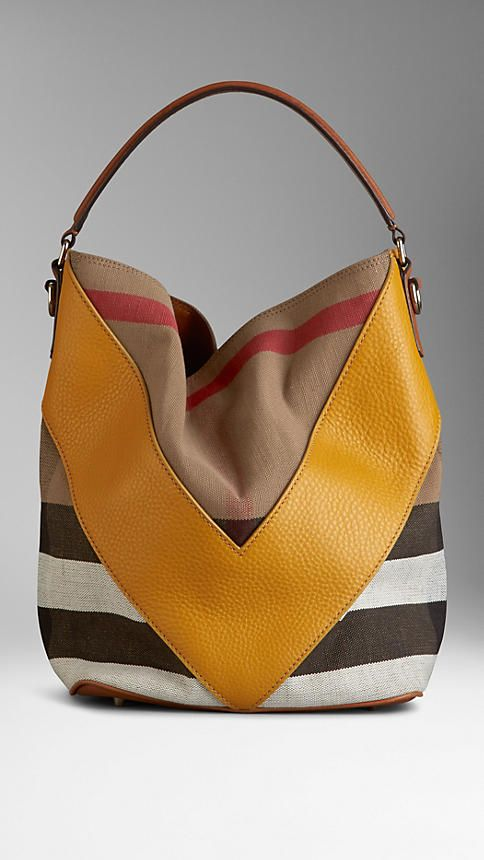 Medium Leather Chevron Canvas Check Hobo Bag | Burberry