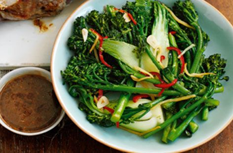 Chilli and ginger stir-fried broccoli and pak choi - made this and it was a good way to use up pak choi i had in my veg box - will def make again