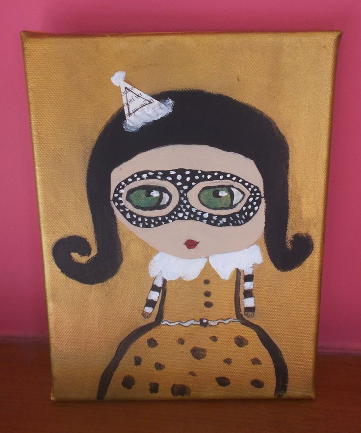 handpainted canvas girl in circus (17X24cm) from my 10 years old daughter! $10