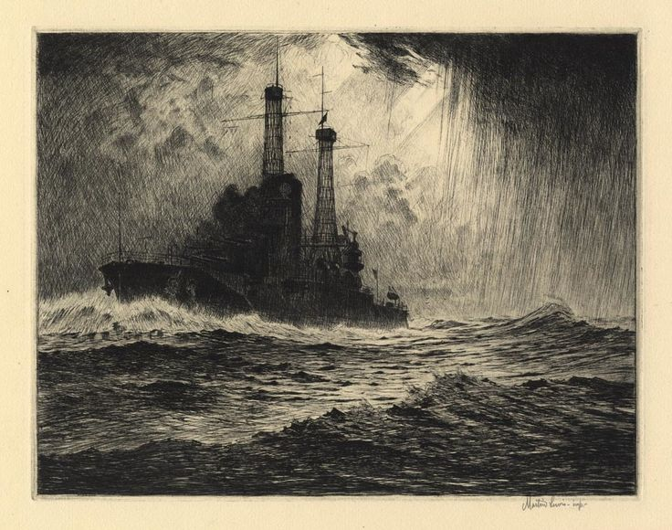 The Old Timer Battleship, 1916 One of his first prints. Etching by Martin Lewis