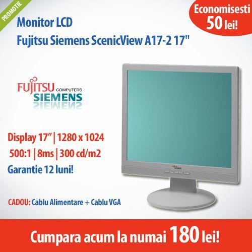 Astazi avem pentru tine monitorul LCD Fujitsu Siemens ScenicView A17-2 cu diagonala de 17 inch, timp de raspuns 8ms si rezolutie 1280x1024, la un pret special, numai 180 lei!