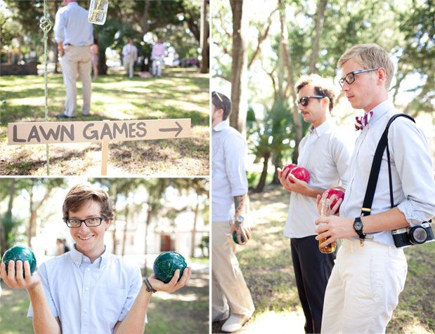 Lawn games - such a good idea for summer weddings when wedding party is taking pictures! Take note, engaged people! Haha