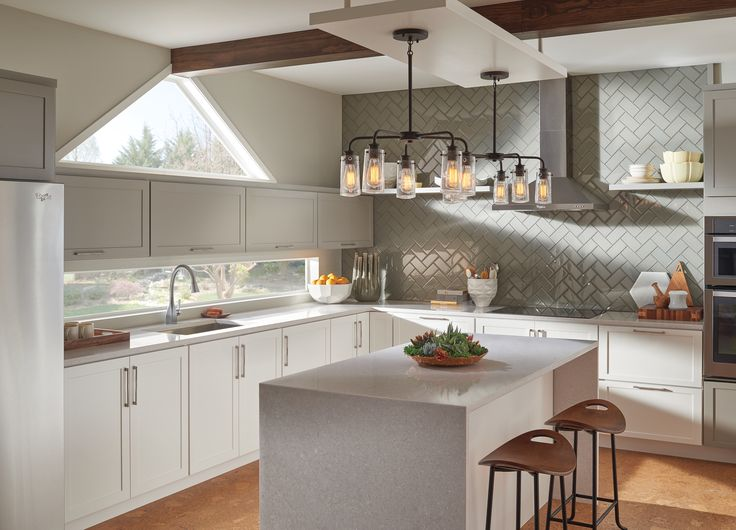 Modern Minimalist Kitchen With Chevron Patterned Grey
