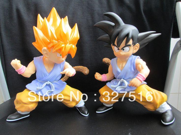 Бесплатная доставка Горячее надувательство Японское аниме Dragon Ball z ПВХ цифры игрушки Супер Саян Гоку 25 см 2 шт./компл. Штраф подарки