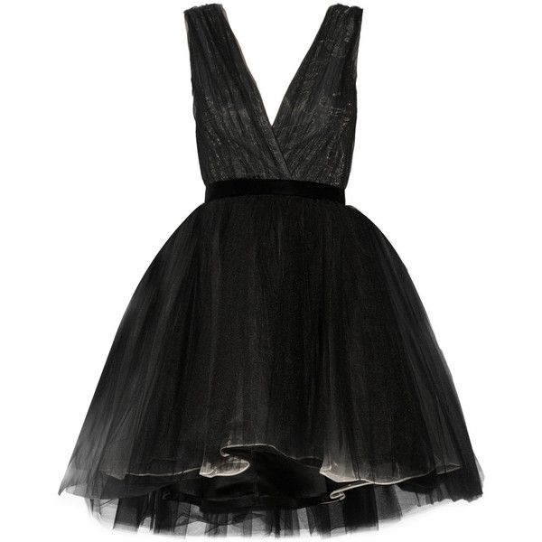 Alice + Olivia Princess layered tulle mini dress ($328) ❤ liked on Polyvore featuring dresses, black, black tulle dress, short fitted dresses, black dress, short black dresses and loose dress