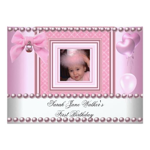 The 1860 best baby girls 1st birthday party invitations images on 1st birthday girl pink white pearl photo first 5x7 paper invitation card filmwisefo