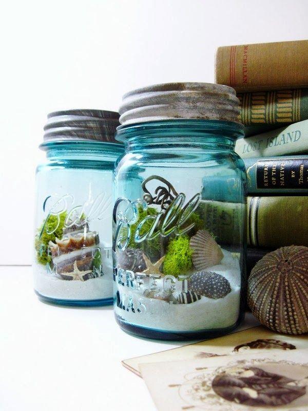 Mason Jar Terrarium Moss Seashells and Lichens