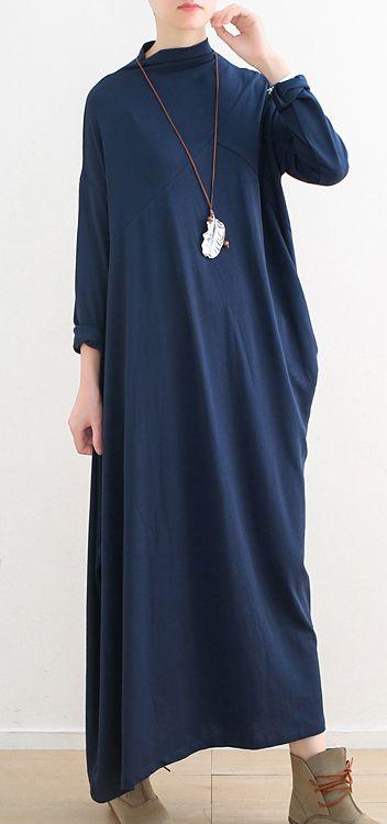 1dc8cca4a21 dark-blue-2018-fall-dress-Loose-fitting-high-neck-traveling-dress -women-asymmetric-dresses