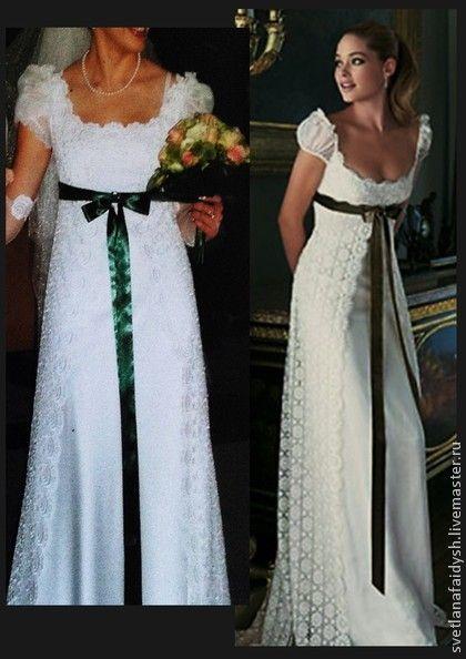 Свадебное платье `Анна`. Свадебное платье в стиле 'Ампир' выполнено на заказ. Изготовлено из кружевного полотна,шелка и шифона. Кружевное платье имеет 1 невидимый по центру спинки. Платье со шлейфом и шифоновой драпировкой на рукаве.