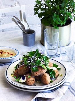 George Calombaris: Alexandrian falafels with hummus  http://gourmettraveller.com.au