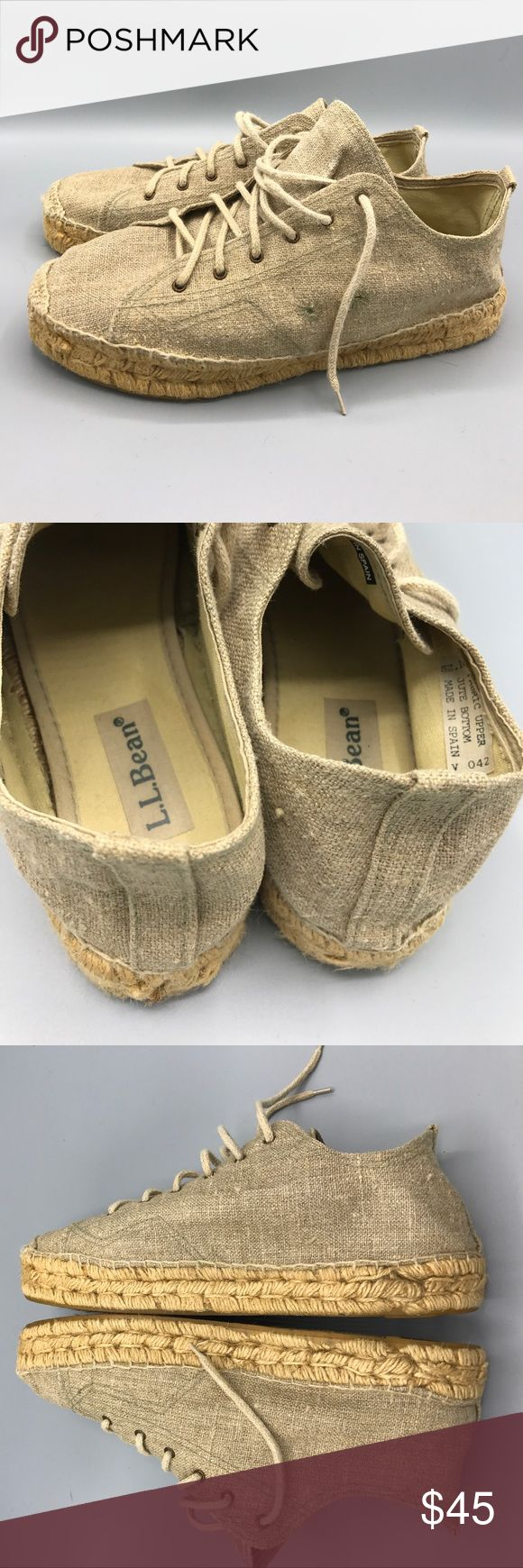 LL BEAN fabric and jute lace oxfords women's 10 LL BEAN  beige canvas/fabric upper on this Lace up oxford for casual to dressy fun!  Nearly new. Size 10 fit is true to size. Light and flexible comfort. L.L. Bean Shoes Flats & Loafers