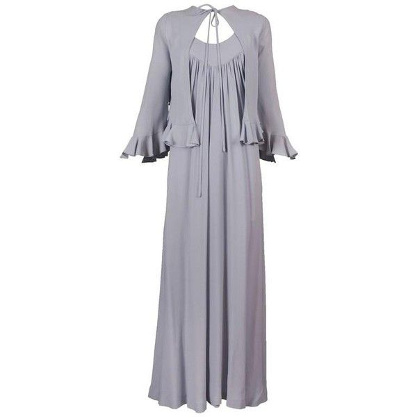 Preowned 1970's Gina Fratini Pale Blue Moss Crepe Maxi Dress & Capelet... ($550) ❤ liked on Polyvore featuring dresses, day dresses, green, crepe maxi dress, green maxi dress, maxi length dresses, stretch maxi dress and pale blue dress