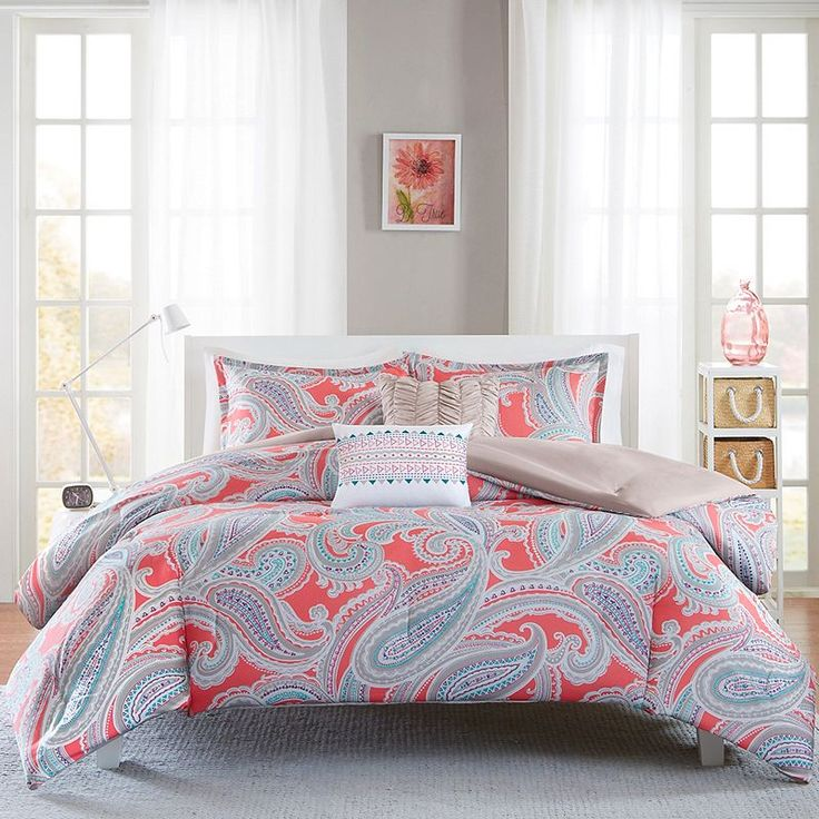Bedding for my daughter's daybed in her teal/coral/gray/white room