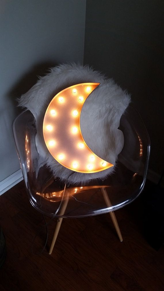 Light Up 18 Crescent Moon Marquee Sign by marqueemarket on Etsy