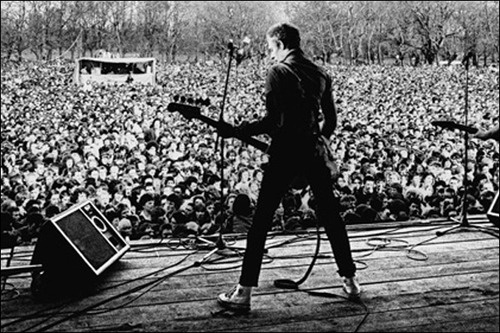 Paul Simonon from The Clash, at the Rock Against Racism gig, 1979, photograph by Syd Shelton.