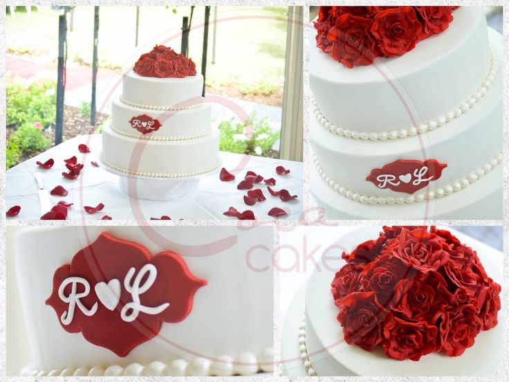 Coca Cakes - Wedding - White with Red Roses