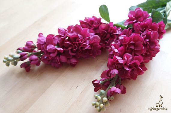"""Violet Red Delphinium Each stem measures approx. 31"""" in length. Flower head part approx. 9"""" in length and 3"""" in wide. Each stem has 23 small flowers and buds, measures approx. 1/2"""" – 2 1/4"""" in width. The listing is for ONE stem.  ** This delphinium can be ordered WITH or WITHOUT the stems.  {Perfect for} - bridal headpiece, wedding crown, bouquet, boutonniere - hair piece and jewellery making - gift packaging - wedding, anniversary, birthday, party and holiday decorating Handpicked ..."""