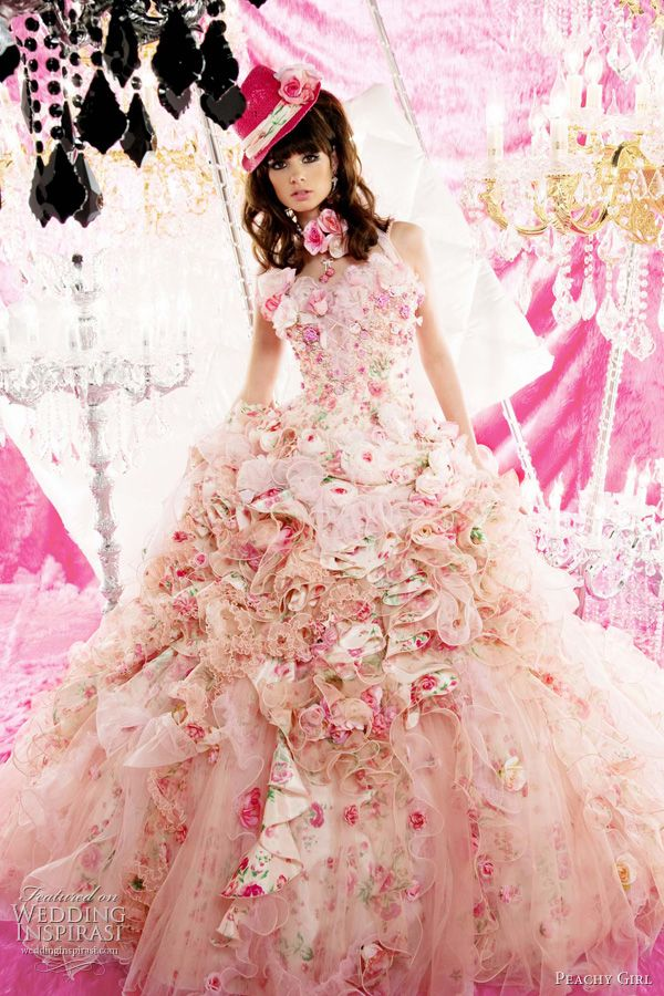 pink ruffle floral wedding dress: