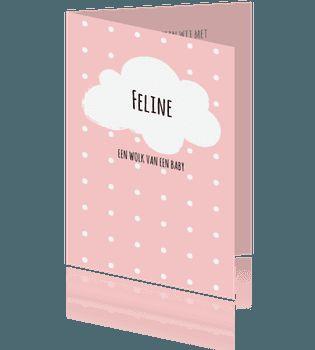 Lief geboortekaartje met wit wolkje voor een meisje