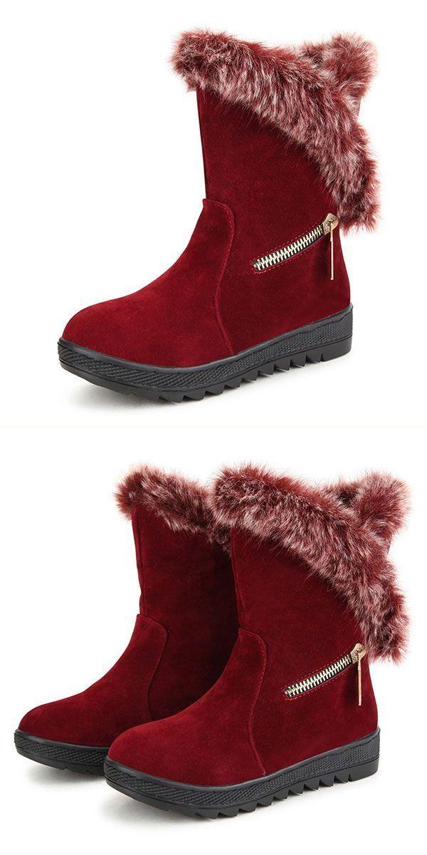 Women Winter Snow Boots Keep Warm Plush Cotton Comfortable Pu Outdoor Flats U