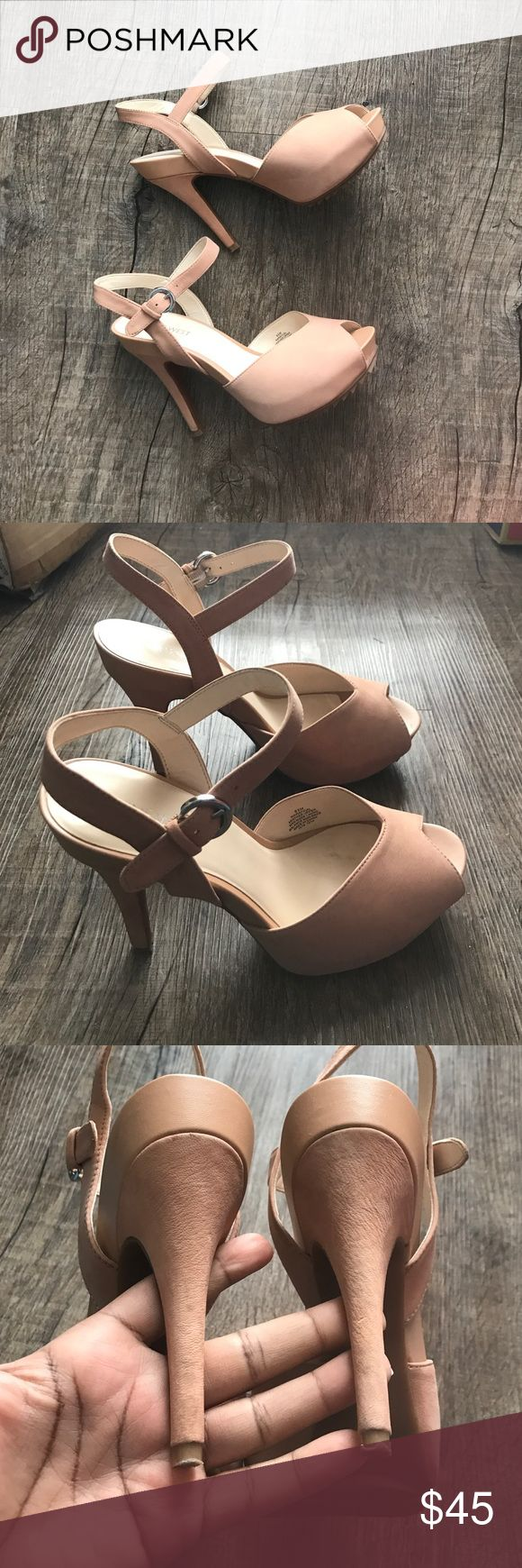 Nine West Nude Platform Slingbacks Pre-Loved and great condition. 4 inch heels. Some wear but not noticeable when wearing and great to dress up or down. Nine West Shoes Heels