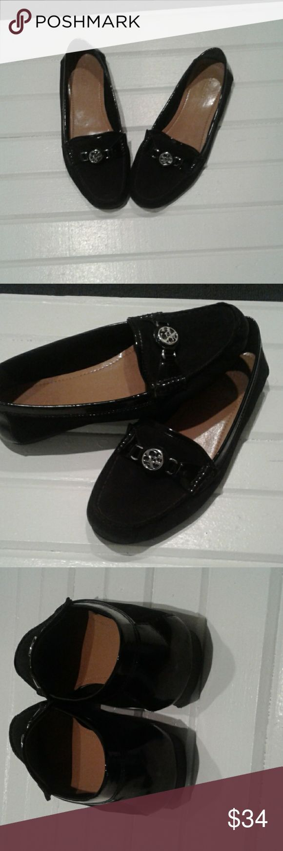 Coach ladies black suede loafers 9M