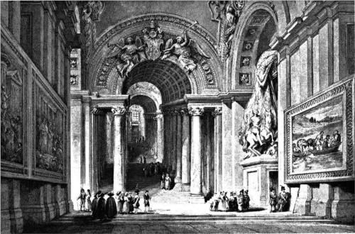 Giovanni Lorenzo Bernini's Scala Regia in the Apostolic Palace, Vatican, drawing by Leitch, engraving by E. Challis - William Leighton Leitch