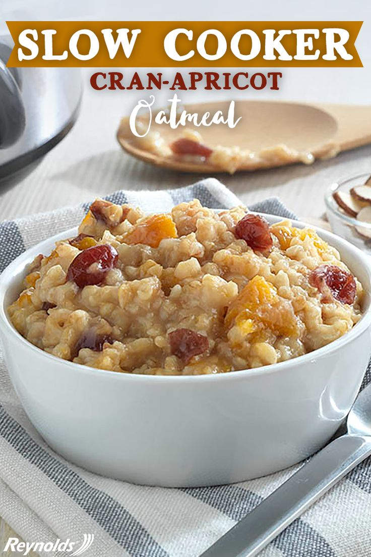 Using your slow cooker isn't just for dinner! Try using your slow cooker to make this delicious Cran-Apricot Oatmeal for a hearty and flavorful breakfast that will leave you feeling full into the afternoon. To avoid the soaking and scrubbing, line your slow cooker with a Reynolds Slow Cooker Liner for fast and easy cleanup. Combine all remaining ingredients except nuts. Cook until oats are tender and top with nuts or raisins for a perfect way to start the day!