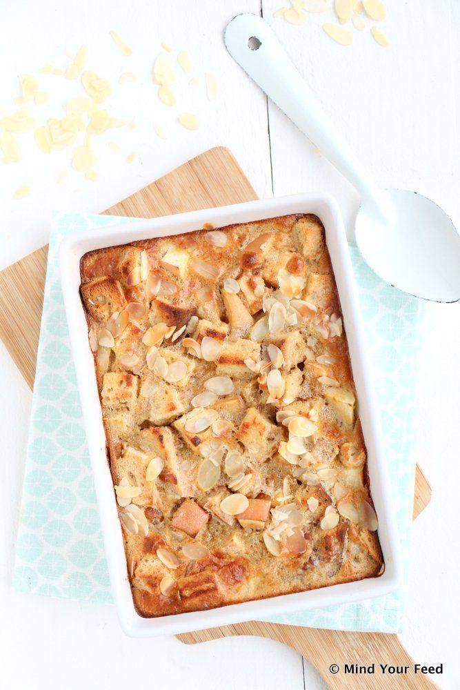 Appel kaneel broodpudding - Toprecept! Alleen wat vanillepoeder toegevoegd, meer kaneel, kokosroom als plantaardige room en rozijnen ipv dadels