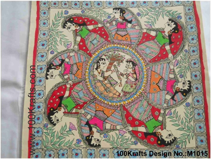 The story of Radha Krishna and their eternal love is well known. Depicted in this Madhubani painting with the gopis dancing around. Available on silk, cotton or paper. Price available on request. More designs available. Please contact enquiry@100krafts.com for details.