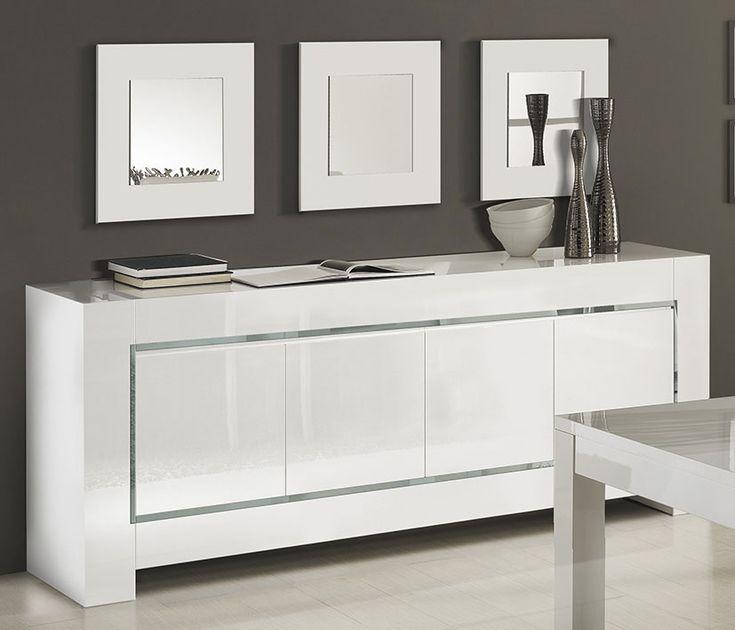 buffet bahut blanc laqu bandes chromes design frizz 3 - Blanc Laque