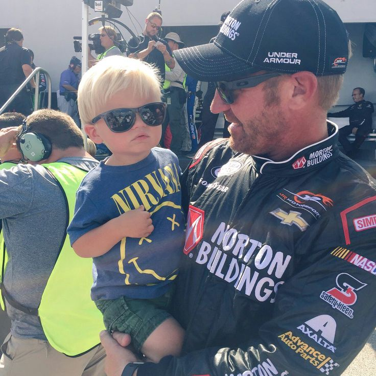Clint Bowyer and his little boy at Chicagoland Speedway
