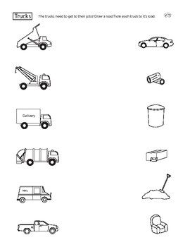 Learn about different trucks and their uses with this fun matching worksheet! Help the trucks get to their jobs by drawing roads to their various destinations. For ages 4-6, from Our Time to Learn.