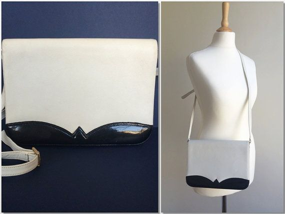 Authentic Bally 1980s Crossbody/Shoulder Bag in Cream and Black