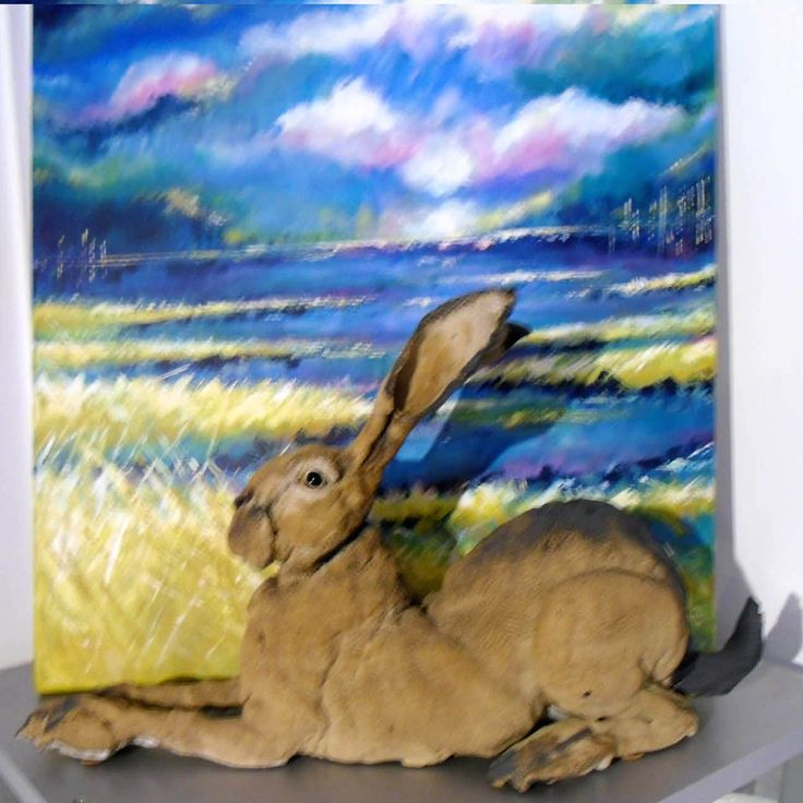 WOW! love Elaine Peto's Huge Hares and try and keep one or two in the Gallery. This is in front of a large painting which must still be somewhere in our storeroom?