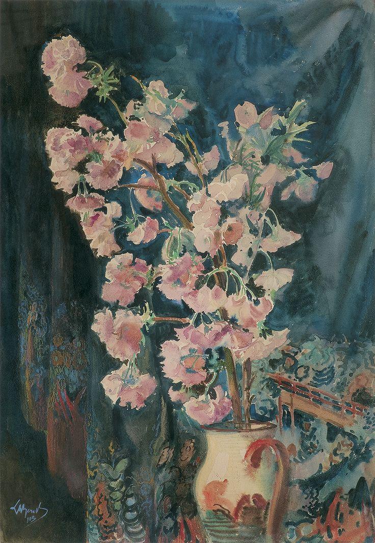 Leon Wyczółkowski: Kwiaty w dzbanku, akwarela, gwasz, pastel, papier, 68 x 47,4 cm